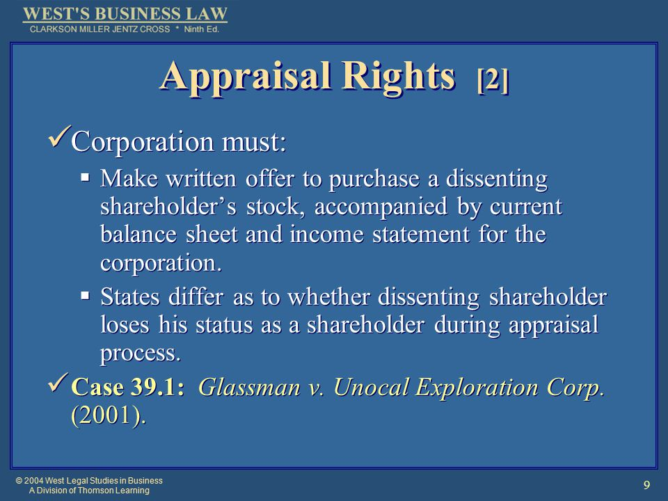 © 2004 West Legal Studies in Business A Division of Thomson Learning 20 Shareholders can initiate dissolution proceedings if the corporation is deadlocked.