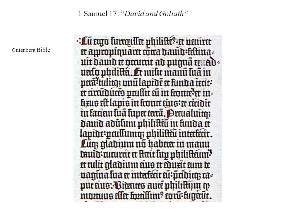"1 Samuel 17: ""David and Goliath"" Gutenberg Bible"