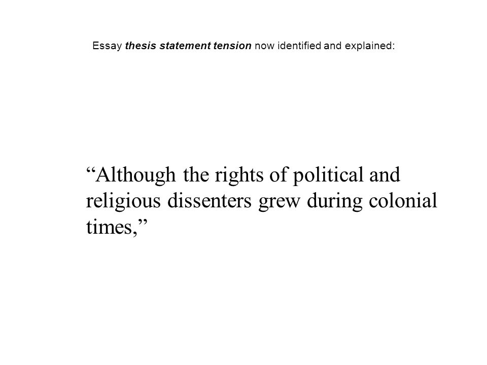 Essay thesis statement tension now identified and explained: Although the rights of political and religious dissenters grew during colonial times,