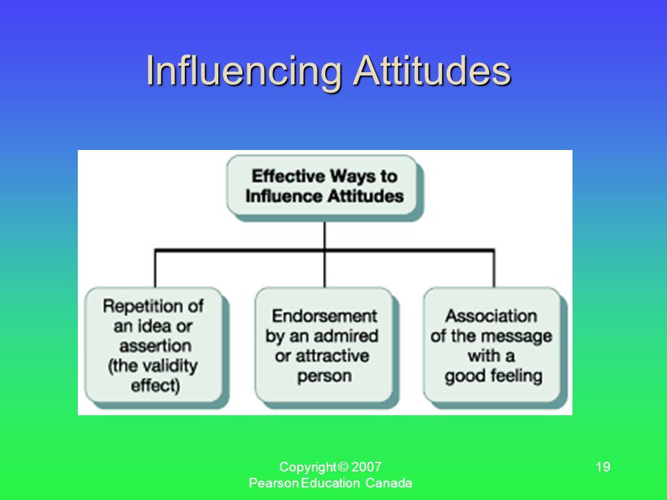 Copyright © 2007 Pearson Education Canada 19 Influencing Attitudes