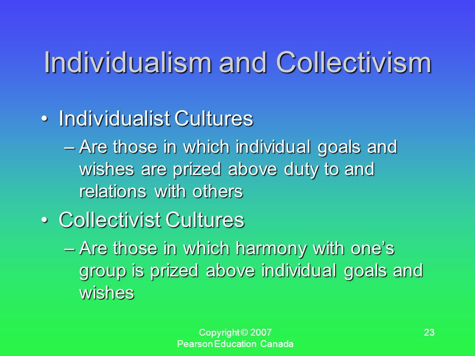 Copyright © 2007 Pearson Education Canada 23 Individualism and Collectivism Individualist CulturesIndividualist Cultures –Are those in which individual goals and wishes are prized above duty to and relations with others Collectivist CulturesCollectivist Cultures –Are those in which harmony with one's group is prized above individual goals and wishes