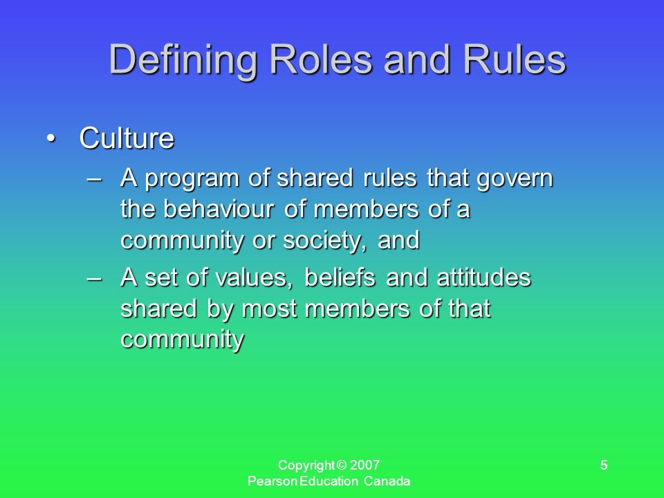 Copyright © 2007 Pearson Education Canada 5 Defining Roles and Rules CultureCulture –A program of shared rules that govern the behaviour of members of a community or society, and –A set of values, beliefs and attitudes shared by most members of that community