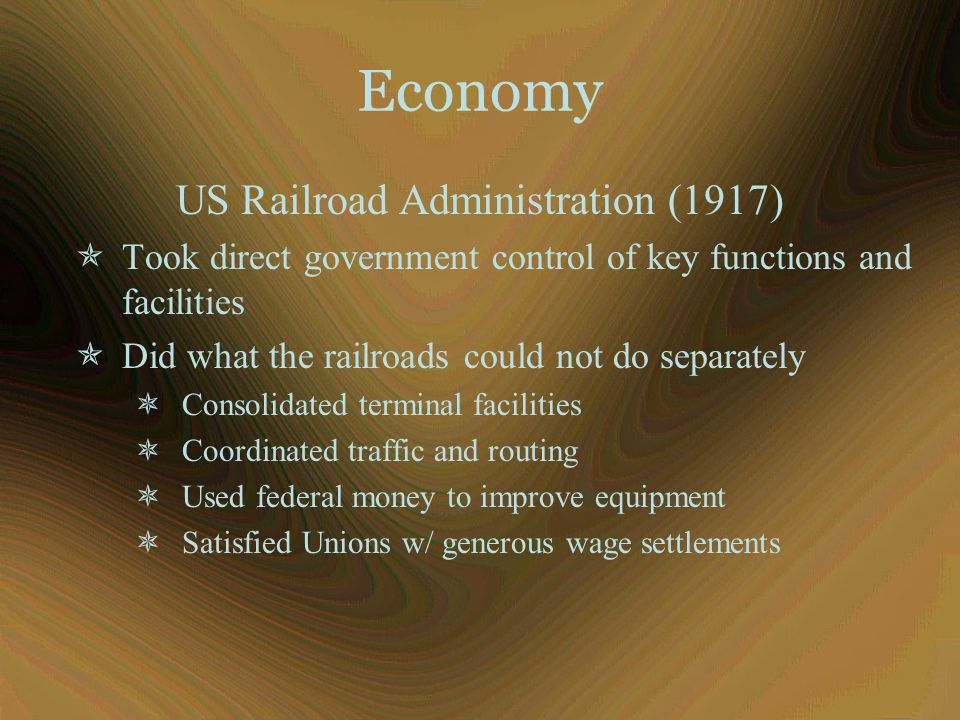 Economy US Railroad Administration (1917)  Took direct government control of key functions and facilities  Did what the railroads could not do separ