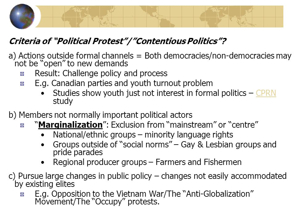 Criteria of Political Protest / Contentious Politics .