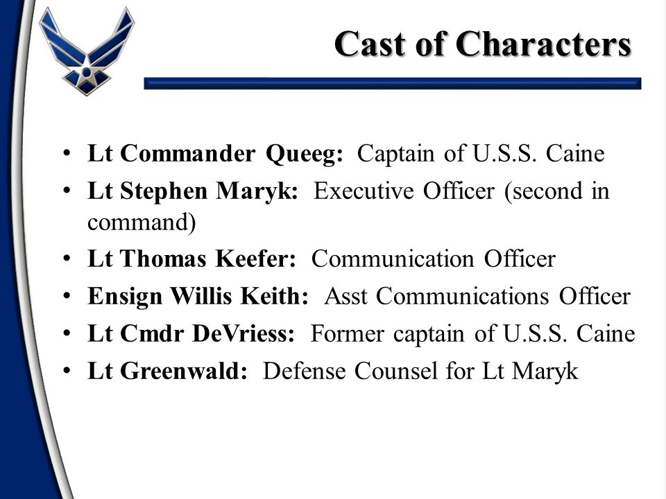 Lt Commander Queeg: Captain of U.S.S. Caine Lt Stephen Maryk: Executive Officer (second in command) Lt Thomas Keefer: Communication Officer Ensign Wil