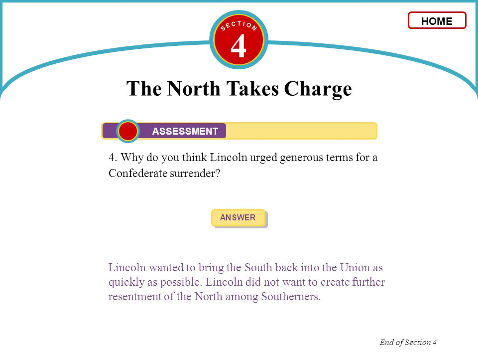 4 The North Takes Charge 4. Why do you think Lincoln urged generous terms for a Confederate surrender? ANSWER Lincoln wanted to bring the South back i