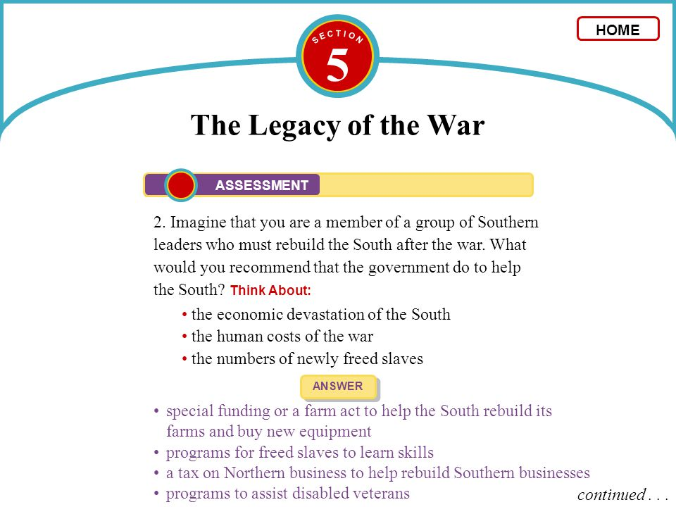 5 The Legacy of the War 2. Imagine that you are a member of a group of Southern leaders who must rebuild the South after the war. What would you recom