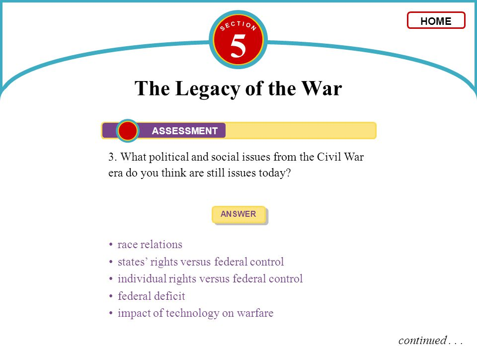 5 The Legacy of the War 3. What political and social issues from the Civil War era do you think are still issues today? ANSWER race relations states'