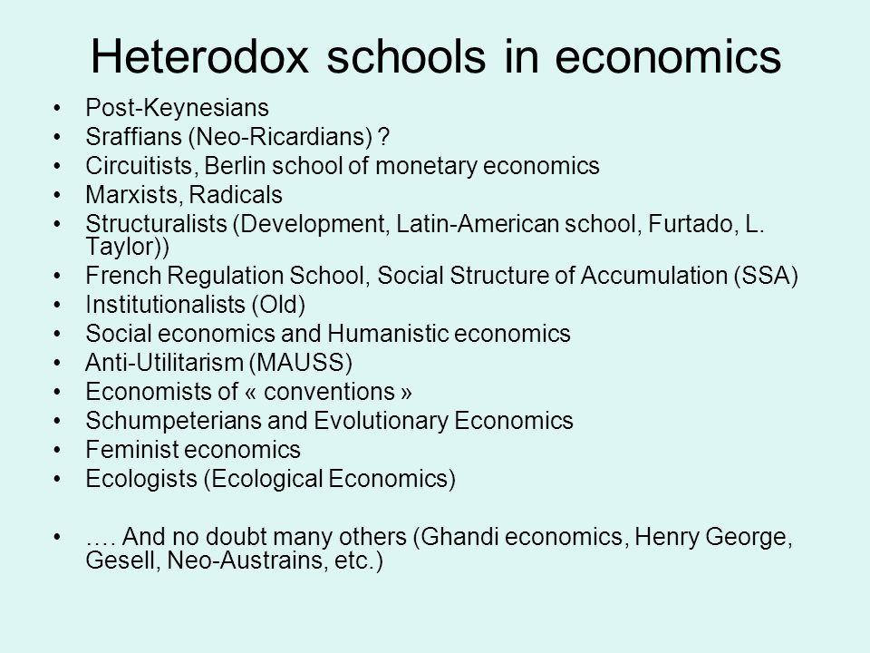 Heterodox schools in economics Post-Keynesians Sraffians (Neo-Ricardians) .