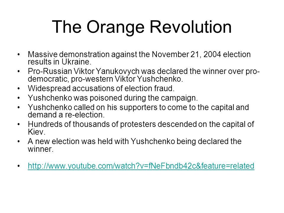 The Orange Revolution Massive demonstration against the November 21, 2004 election results in Ukraine.