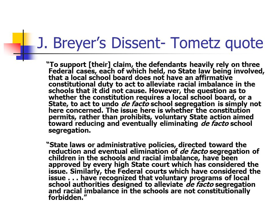"""J. Breyer's Dissent- Tometz quote """"To support [their] claim, the defendants heavily rely on three Federal cases, each of which held, no State law bein"""
