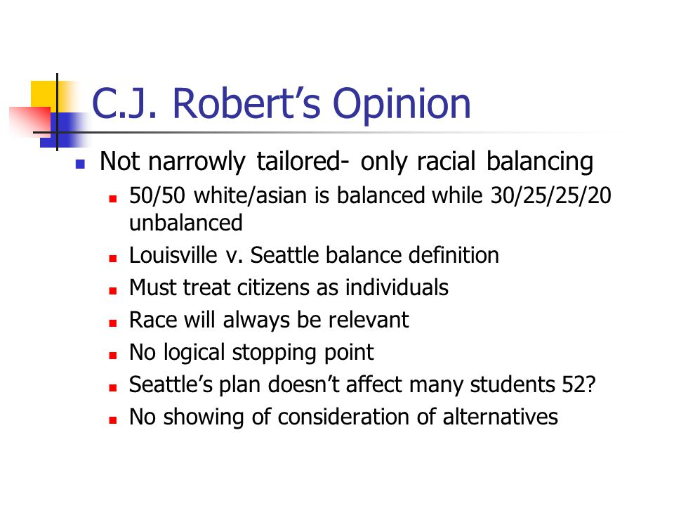 J Breyer's Dissent- Compelling State Interest and Narrow Tailoring Diversity, balance, integration Eliminating school by school racial isolation and increasing racial mixture Historical, educational and democratic elements Race Conscious criteria operate only at the limits of other choice based tools Narrower than Grutter No narrower tool appears in prior cases.