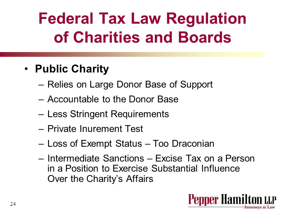 24 Federal Tax Law Regulation of Charities and Boards Public Charity –Relies on Large Donor Base of Support –Accountable to the Donor Base –Less Stringent Requirements –Private Inurement Test –Loss of Exempt Status – Too Draconian –Intermediate Sanctions – Excise Tax on a Person in a Position to Exercise Substantial Influence Over the Charity's Affairs
