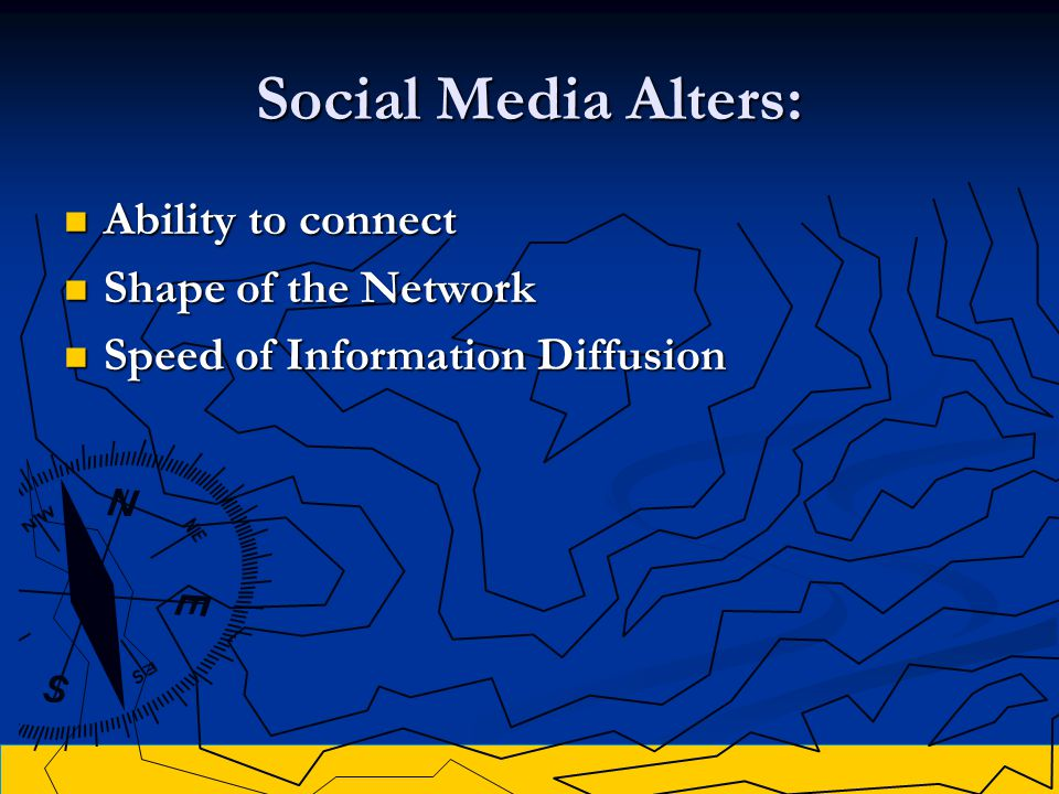 Social Media Alters: Ability to connect Ability to connect Shape of the Network Shape of the Network Speed of Information Diffusion Speed of Information Diffusion
