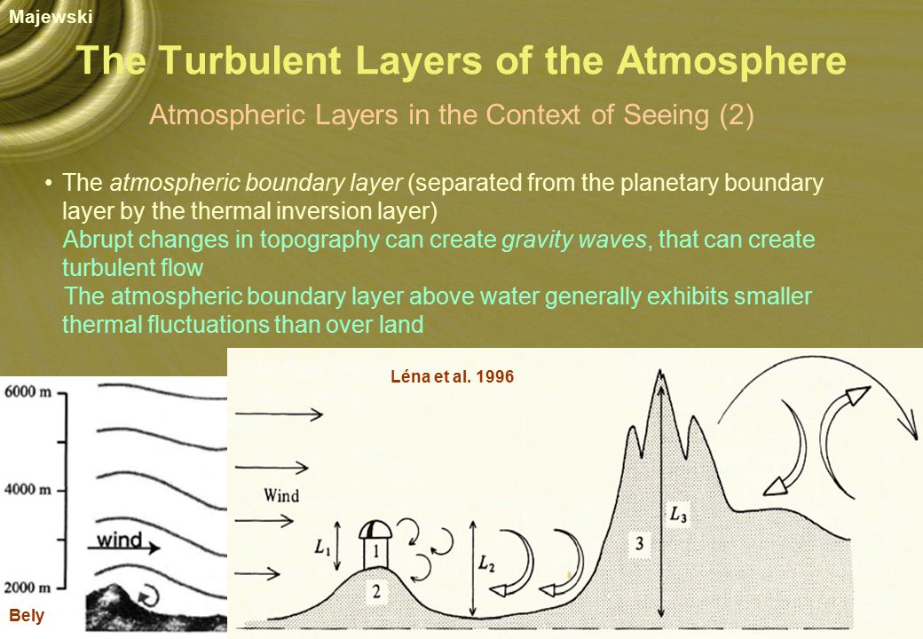 The Turbulent Layers of the Atmosphere Atmospheric Layers in the Context of Seeing (2) The atmospheric boundary layer (separated from the planetary boundary layer by the thermal inversion layer) Abrupt changes in topography can create gravity waves, that can create turbulent flow The atmospheric boundary layer above water generally exhibits smaller thermal fluctuations than over land Bely Léna et al.
