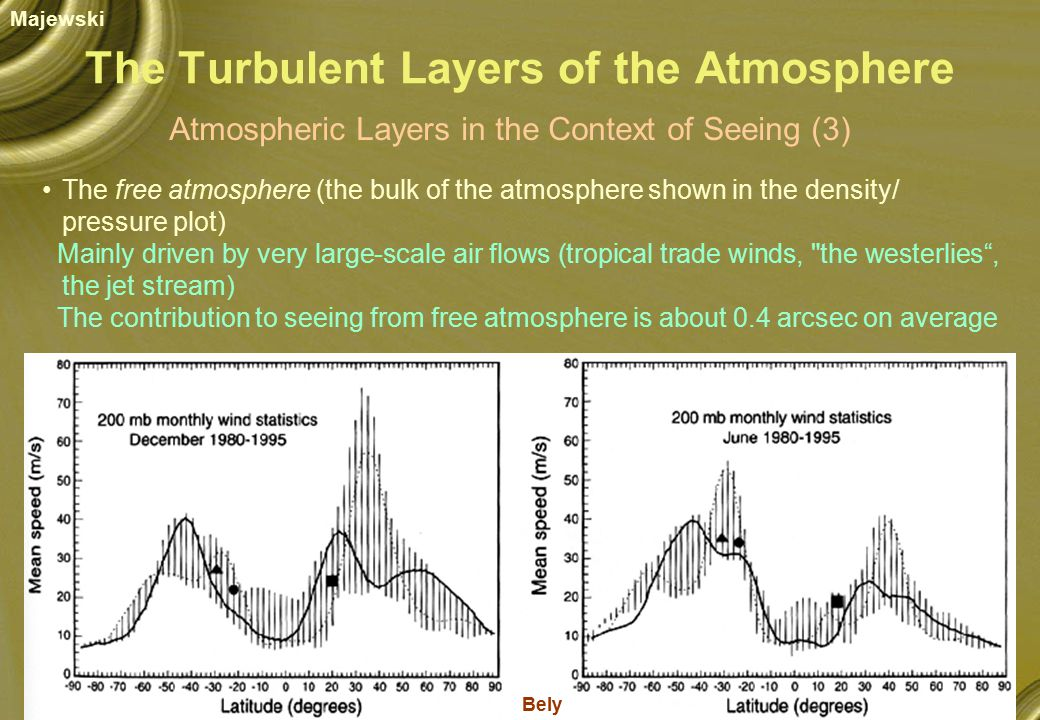 The Turbulent Layers of the Atmosphere Atmospheric Layers in the Context of Seeing (3) The free atmosphere (the bulk of the atmosphere shown in the density/ pressure plot) Mainly driven by very large-scale air flows (tropical trade winds, the westerlies , the jet stream) The contribution to seeing from free atmosphere is about 0.4 arcsec on average Bely Majewski
