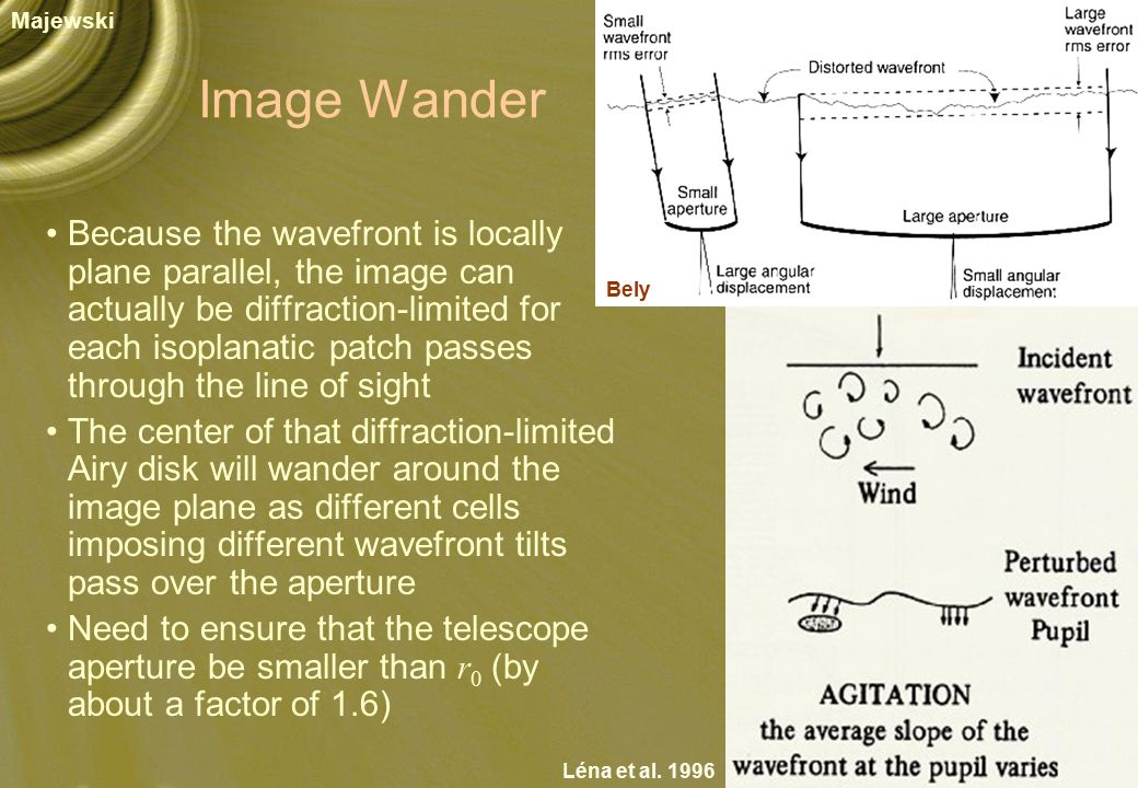 Image Wander Because the wavefront is locally plane parallel, the image can actually be diffraction-limited for each isoplanatic patch passes through the line of sight The center of that diffraction-limited Airy disk will wander around the image plane as different cells imposing different wavefront tilts pass over the aperture Need to ensure that the telescope aperture be smaller than r 0 (by about a factor of 1.6) Majewski Léna et al.