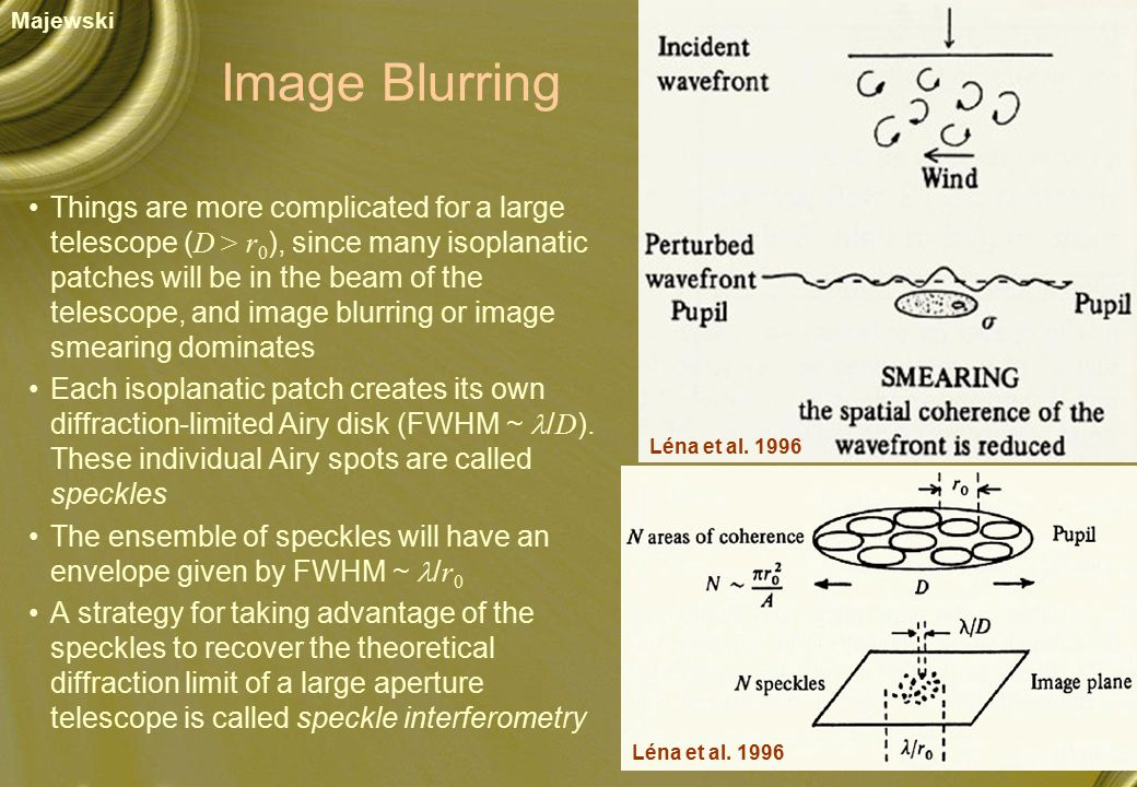 Image Blurring Things are more complicated for a large telescope ( D > r 0 ), since many isoplanatic patches will be in the beam of the telescope, and image blurring or image smearing dominates Each isoplanatic patch creates its own diffraction-limited Airy disk (FWHM ~ / D ).