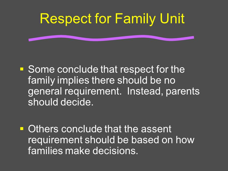 Respect for Family Unit  Some conclude that respect for the family implies there should be no general requirement. Instead, parents should decide. 