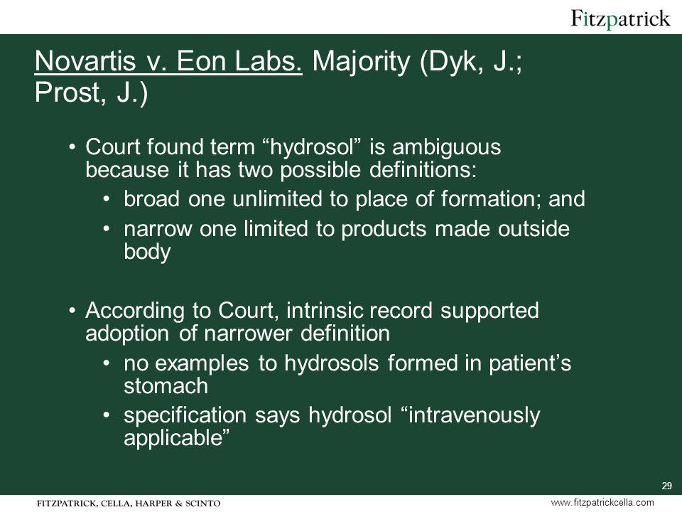 29 www.fitzpatrickcella.com Novartis v. Eon Labs.