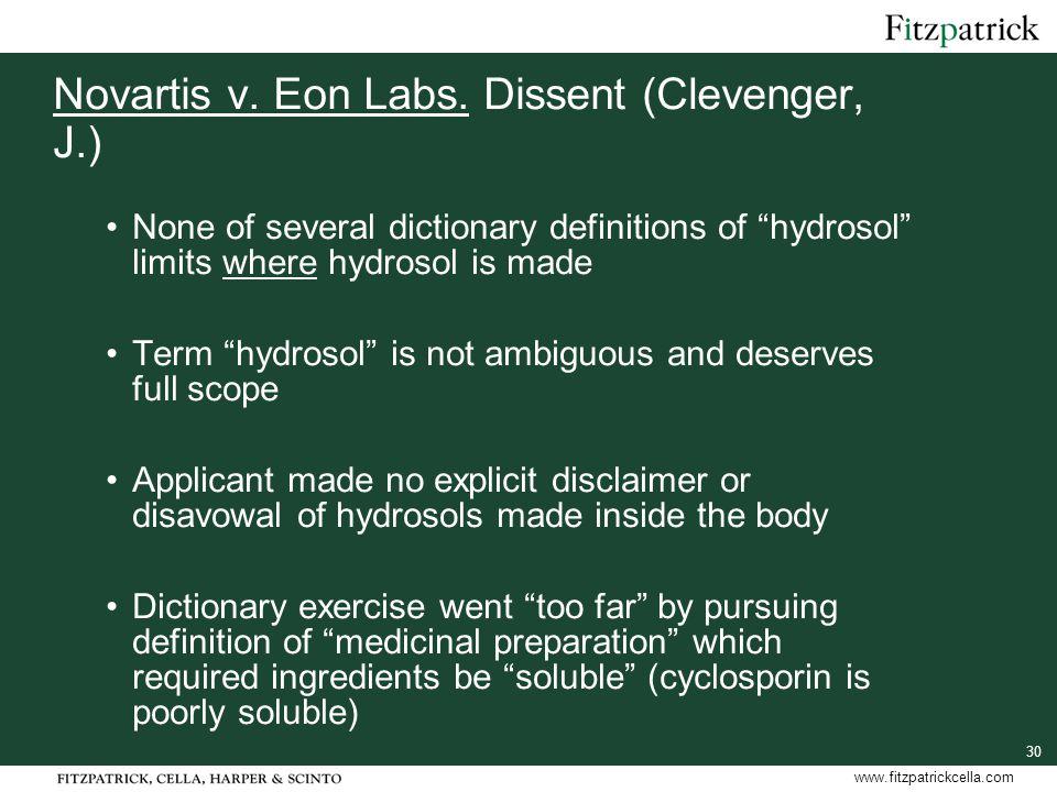 30 www.fitzpatrickcella.com Novartis v. Eon Labs.