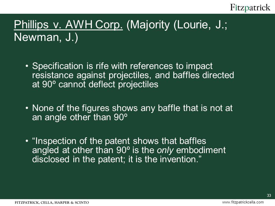 33 www.fitzpatrickcella.com Phillips v. AWH Corp.