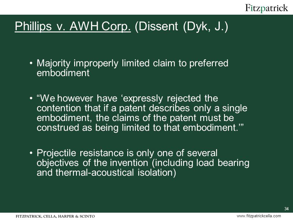 34 www.fitzpatrickcella.com Phillips v. AWH Corp.