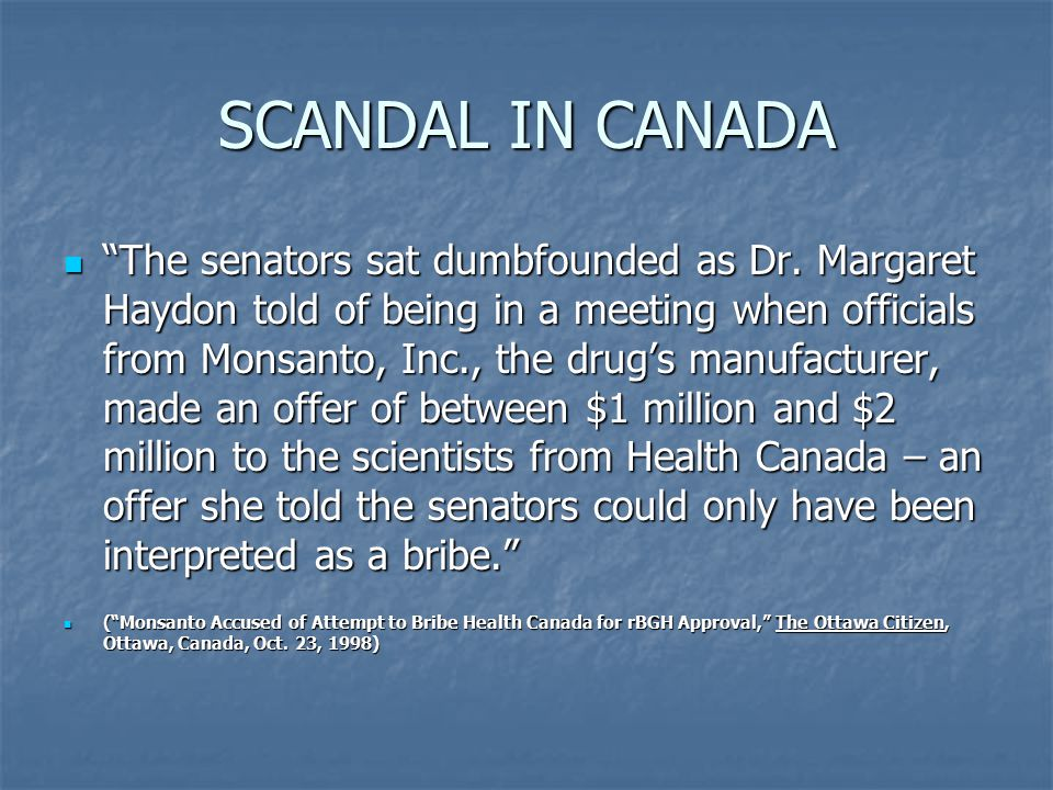 SCANDAL IN CANADA The senators sat dumbfounded as Dr.