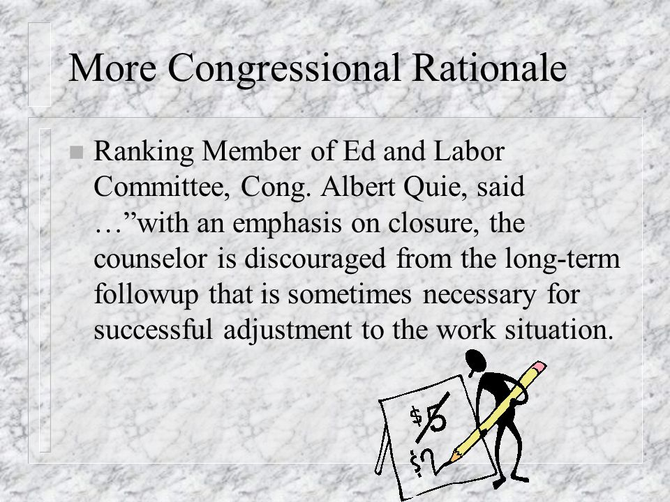 "What Congress Said About Redirection of Program n Ranking Member of Subcommittee on Select Education, Cong. Ogden Reid ""…we became aware that many han"