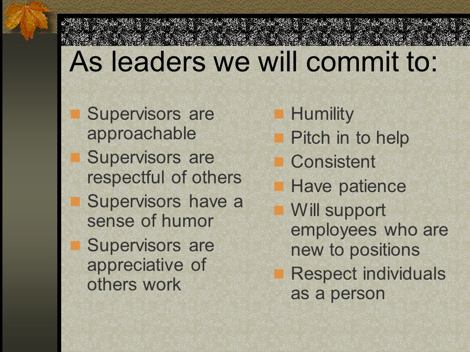 As leaders we will commit to: Supervisors are approachable Supervisors are respectful of others Supervisors have a sense of humor Supervisors are appr