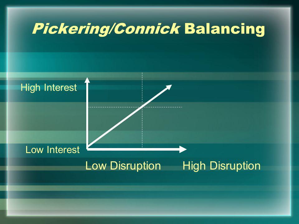 Pickering/Connick Balancing High DisruptionLow Disruption High Interest Low Interest