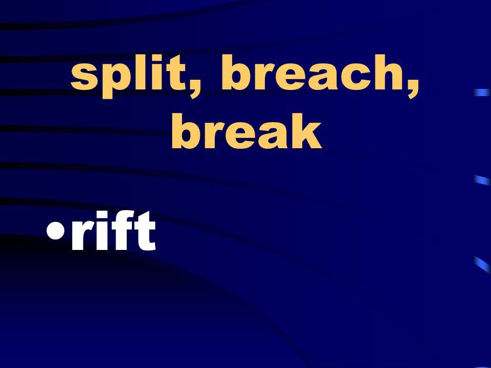 split, breach, break rift