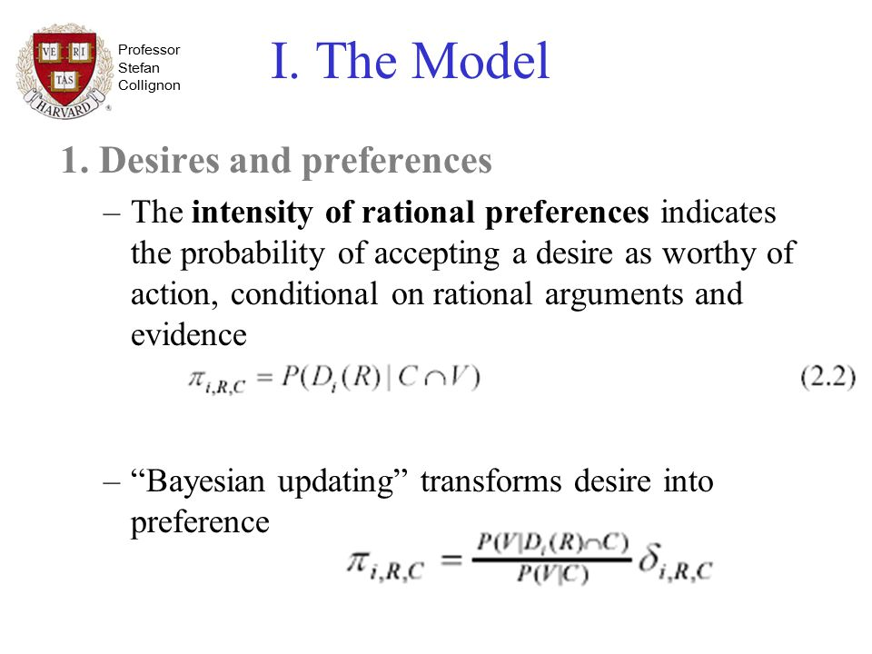 Professor Stefan Collignon I. The Model 1. Desires and preferences –The intensity of rational preferences indicates the probability of accepting a des