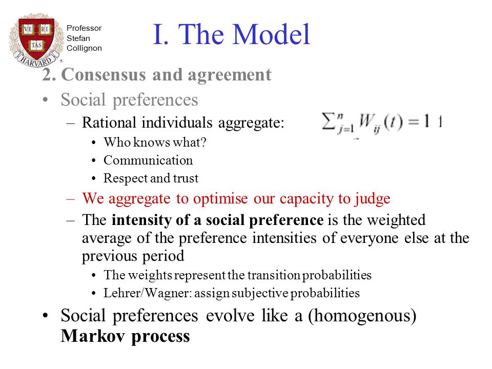 Professor Stefan Collignon I. The Model 2. Consensus and agreement Social preferences –Rational individuals aggregate: Who knows what? Communication R