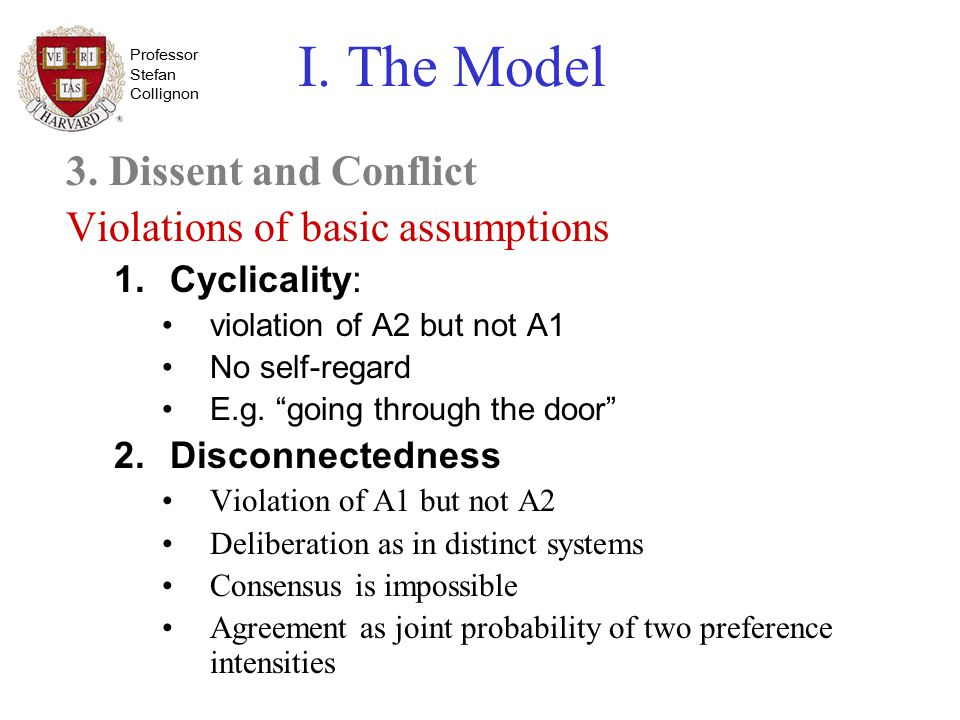 Professor Stefan Collignon I. The Model 3. Dissent and Conflict Violations of basic assumptions 1.Cyclicality: violation of A2 but not A1 No self-rega