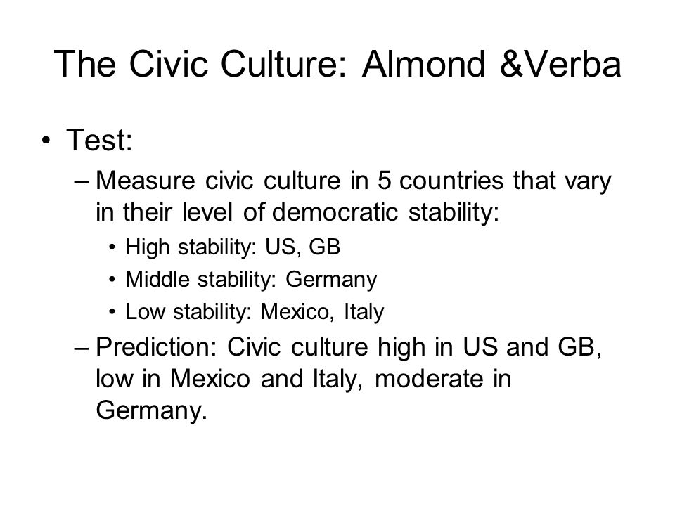 The Civic Culture: Almond &Verba Test: –Measure civic culture in 5 countries that vary in their level of democratic stability: High stability: US, GB Middle stability: Germany Low stability: Mexico, Italy –Prediction: Civic culture high in US and GB, low in Mexico and Italy, moderate in Germany.