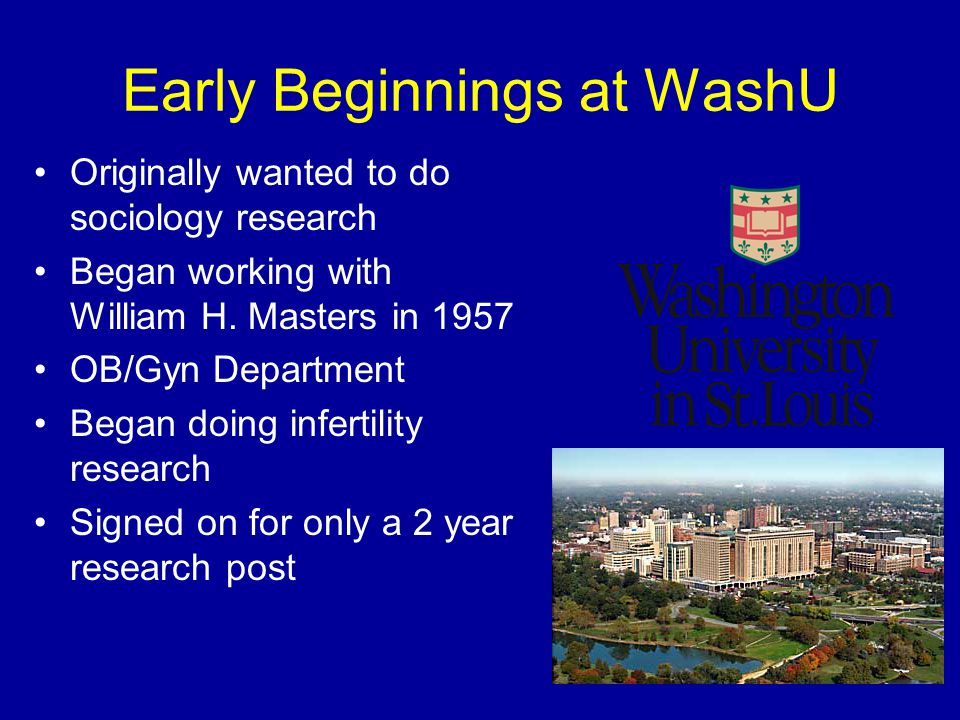 Early Beginnings at WashU Originally wanted to do sociology research Began working with William H. Masters in 1957 OB/Gyn Department Began doing infer
