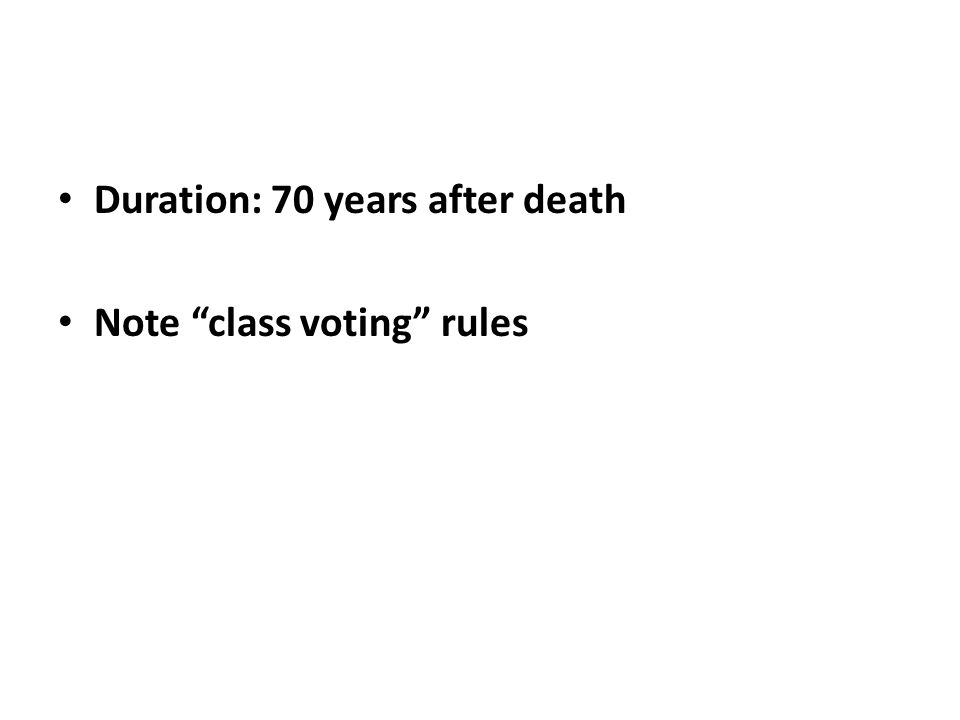 "Duration: 70 years after death Note ""class voting"" rules"