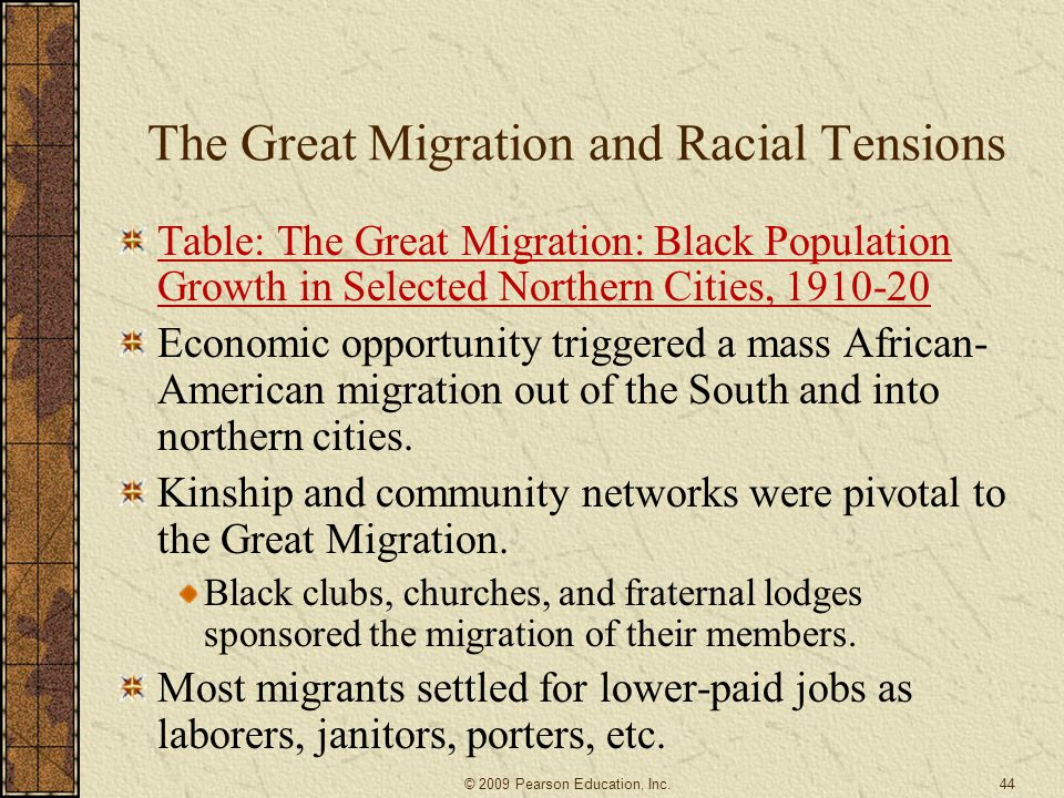 The Great Migration and Racial Tensions Table: The Great Migration: Black Population Growth in Selected Northern Cities, 1910-20 Economic opportunity