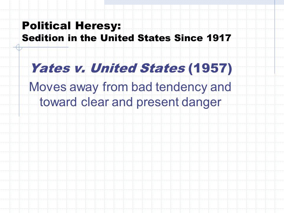 Political Heresy: Sedition in the United States Since 1917 Brandenburg v.