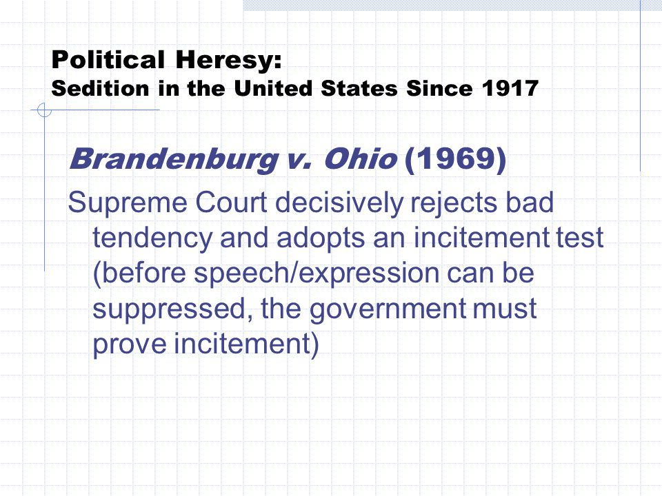 Political Heresy: Sedition in the United States Since 1917 Brandenburg v.