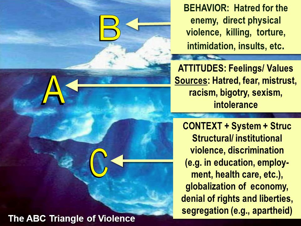 BEHAVIOR: Hatred for the enemy, direct physical violence, killing, torture, intimidation, insults, etc. ATTITUDES: Feelings/ Values Sources: Hatred, f