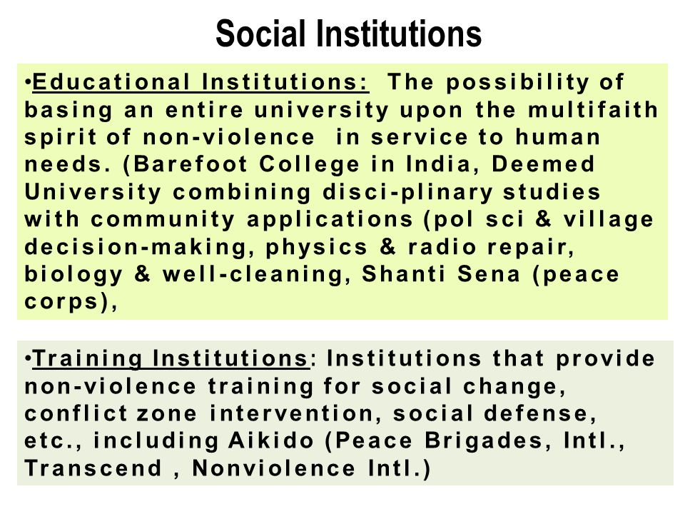 Social Institutions Educational Institutions: The possibility of basing an entire university upon the multifaith spirit of non-violence in service to
