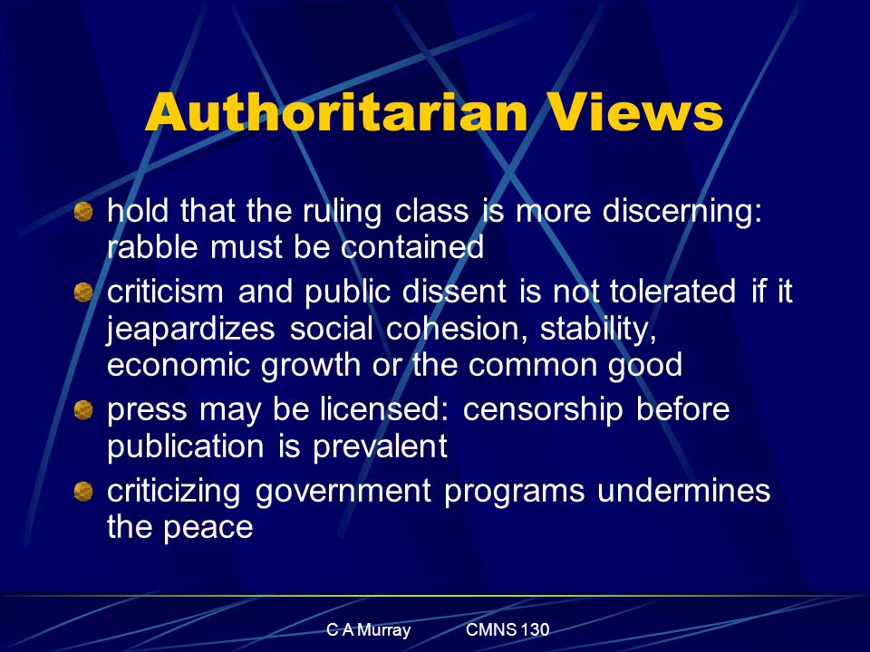 C A Murray CMNS 130 Authoritarian Views hold that the ruling class is more discerning: rabble must be contained criticism and public dissent is not to