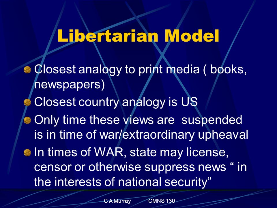 C A Murray CMNS 130 Libertarian Model Closest analogy to print media ( books, newspapers) Closest country analogy is US Only time these views are susp