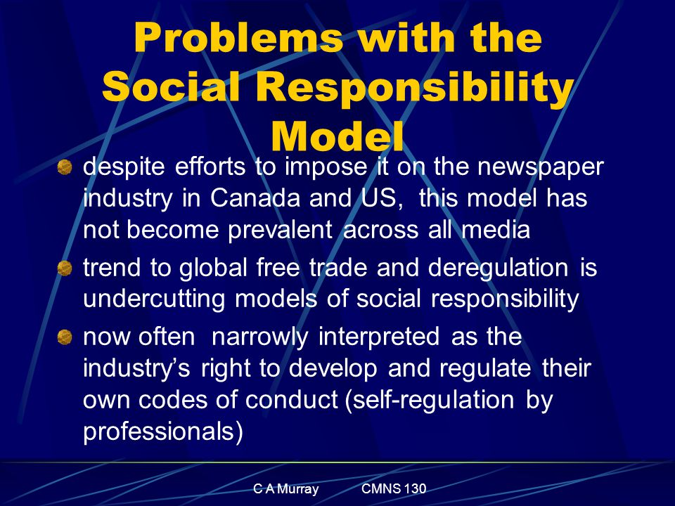 C A Murray CMNS 130 Problems with the Social Responsibility Model despite efforts to impose it on the newspaper industry in Canada and US, this model