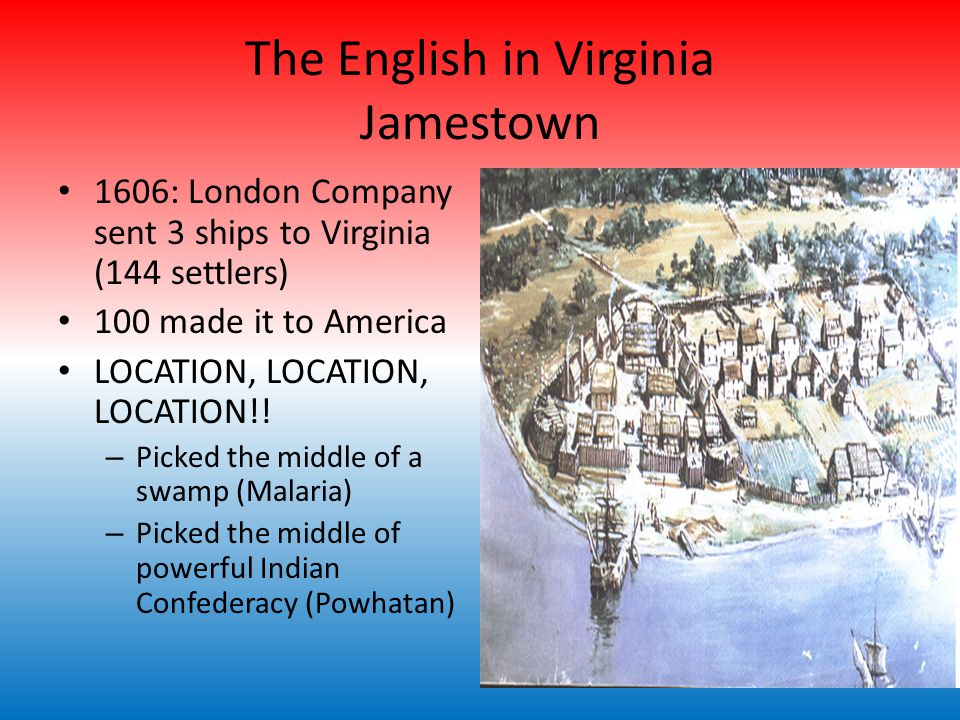 The English in Virginia Jamestown 1606: London Company sent 3 ships to Virginia (144 settlers) 100 made it to America LOCATION, LOCATION, LOCATION!.