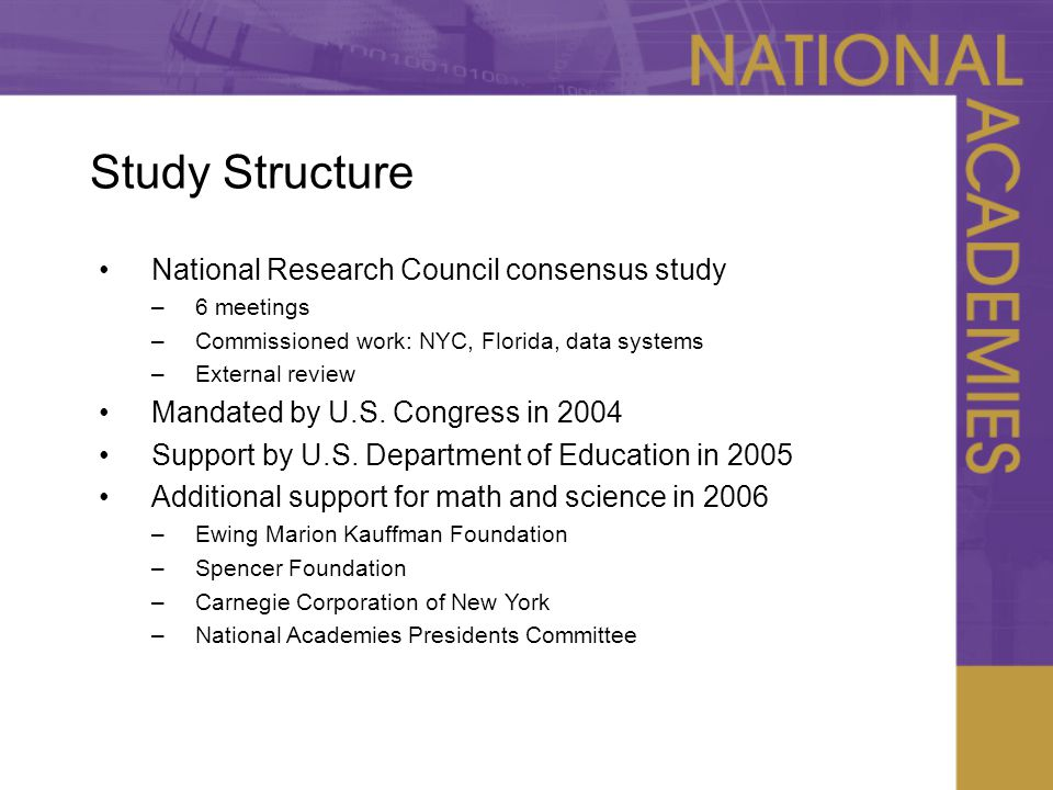 Study Structure National Research Council consensus study –6 meetings –Commissioned work: NYC, Florida, data systems –External review Mandated by U.S.