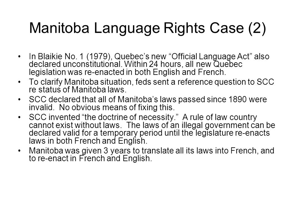 Manitoba Language Rights Case (2) In Blaikie No.