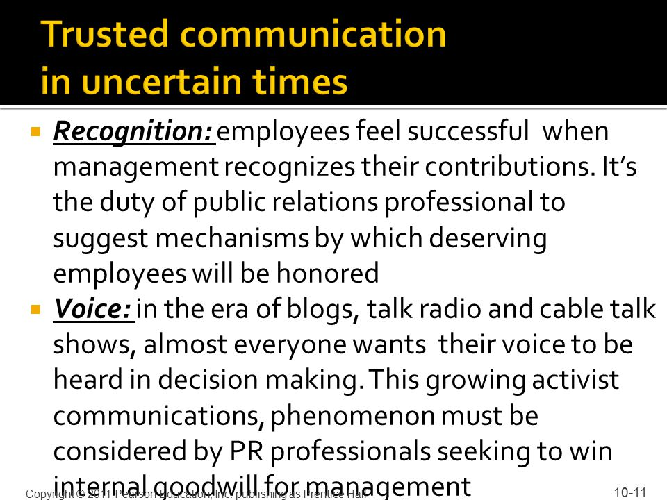  Recognition: employees feel successful when management recognizes their contributions.